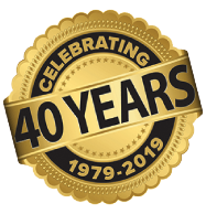celebrating 40 years badge